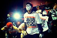 The hip-hop dance crew JabbaWockeeZ performing in a night club.