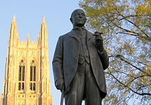 Statue of James B. Duke in foreground with Duke Chapel behind