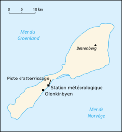 Carte de l'île Jan Mayen.
