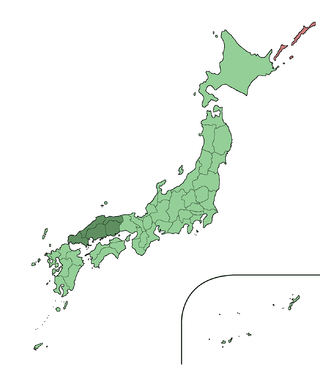 Map showing the Chūgoku region of Japan. It comprises the far-west area of the island of Honshu.