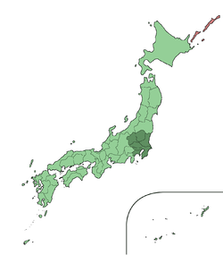 Map showing location of Kantō region within Japan