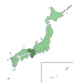 Map showing the Kansai region of Japan. It comprises the mid-west area of the island of Honshu.