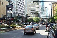 Image looking west down Jasper Avenue showing the major financial centers in Edmonton