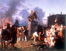 Johannes Adam Simon Oertel. Pulling Down the Statue of King George III, N.Y.C., ca. 1859. The painting is a romanticised version of the Sons of Liberty destroying the symbol of monarchy following the reading of the United States Declaration of Independence by George Washington to the Continental Army and residents on the New York City commons, July 9th, 1776