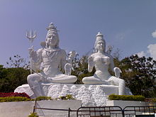 Outdoor statues of male and female gods