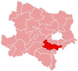 Localisation du Bezirk de Baden dans le Land autrichien de Basse-Autriche