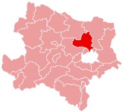 Localisation du Bezirk de Korneuburg dans le Land autrichien de Basse-Autriche