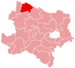 Localisation du Bezirk de Waidhofen an der Thaya dans le Land autrichien de Basse-Autriche