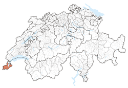 Map of Switzerland, location of Geneva highlighted