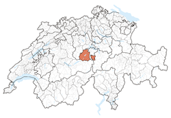 Map of Switzerland, location of Obwalden highlighted