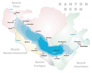 Mapa del lago de Thun