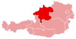 Ligging van Opper-Oostenrijk in Oostenrijk