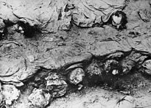 The decomposing remains of Katyn victims, found in a mass grave.