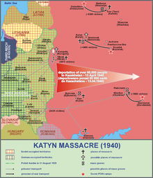 Map of the sites related to the Katyn massacre