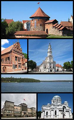 De haut en bas, de gauche à droite: la forteresse de Kaunas, la maison de Perkūnas, l'hôtel de ville, le réservoir de Kaunas, le musée militaire Vytautas le Grand, l'église Saint-Michel-Archange.