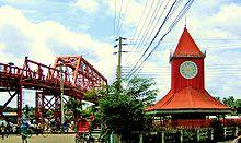 Kean Bridge and Ali Amjad Clock Tower, Sylhet.JPG