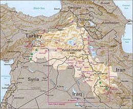 Les zones majoritairement kurdes (en clair).