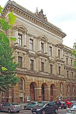 exterior of nineteenth century neo-classical building viewed from street level