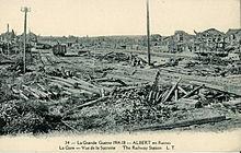 Ruines de la gare d'Albert, détruite pendant la Première Guerre mondiale