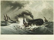 Painting of small, flame-engulfed boat with men clinging to wreckage next to spouting whale, with second small boat and larger three-masted ship in background.