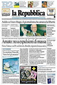 La repubblica frontpage 2007 11 07.jpg