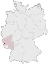 Map of Germany, Position of Trier highlighted
