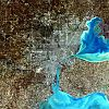 Simulated satellite image of Metro Detroit
