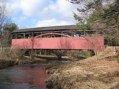 The Cogan House Covered Bridge over Larrys Creek, Cogan House Township, Pennsylvania, U.S.