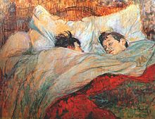 A painting of two short-haired women in a massive bed, covered to their chins in blankets under a red top cover. One woman is looking sleepily at the other.
