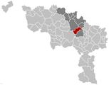 Situation de la ville dans l'arrondissement de Soignies et la province de Hainaut