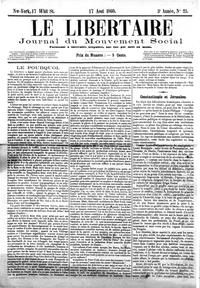 Le Libertaire, Journal du mouvement social, New-York, n° 25, 17 août 1860.