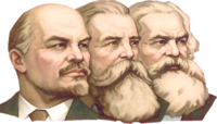 Vladimir Lenin, Friedrich Engels, and Karl Marx