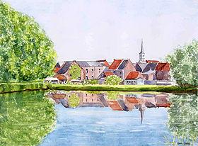 Aquarelle de Marie-Claire Lefébure: l'étang du Moulin.