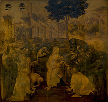 An unfinished painting showing the Virgin Mary and Christ Child surrounded by many figures who are all crowding to look at the baby. Behind the figures are a distant landscape and a large ruined building. More people are coming, in the distance.