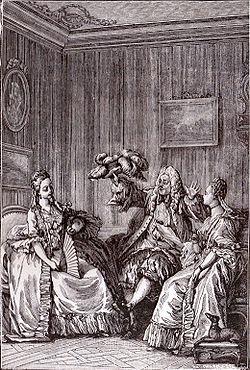 MASCARILLE: Que vous semble de ma petite oie? La trouvez-vous congruente à l'habit?CATHOS: Tout à fait.Scène IX. Gravure de Moreau le Jeune.