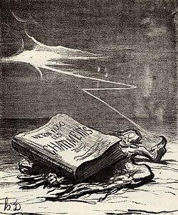 Dessin d'Honoré Daumier, hommage aux Châtiments de Victor Hugo (terrassant l'aigle impérial)
