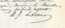 Signature de Urbain Le Verrier