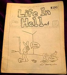 A book with black and white pencil drawings, with a large title on top, and a drawing of an anthropomorphic bunny kneeling before a dead anthropomorphic bunny.