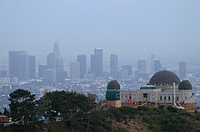 L.A. skyline from behind the Griffith Observatory