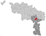 Situation de la commune dans l'arrondissement de Thuin et la province de Hainaut