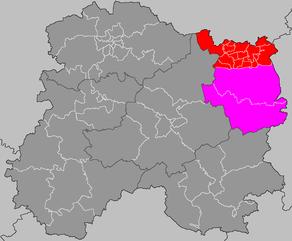 Situation du canton de Ville-sur-Tourbe dans le département Marne