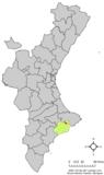 Localización de Bolulla respecto a la Comunidad Valenciana