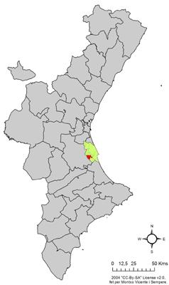 Localización de Corbera en la Comunidad Valenciana