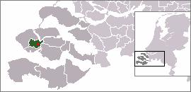 Localisation de Arnemuiden dans la commune de Middelbourg