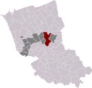 Locatie van de gemeente in de Franse Westhoek