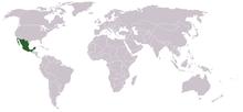 Ligging van Mexico op de wereldkaart