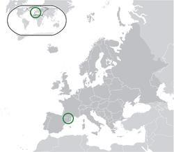 Location of Andorra(green)in Europe(dark grey) — [Legend]