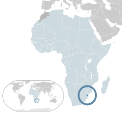 Location of  Swaziland  (dark blue)– in Africa  (light blue & dark grey)– in the African Union  (light blue)