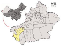Localisation de la ville de Kachgar dans la préfecture de Kachgar (en jaune)