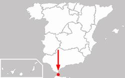 Autonomní město Ceuta na mapě Španělska